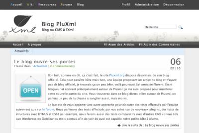 Ouverture blog PluXml
